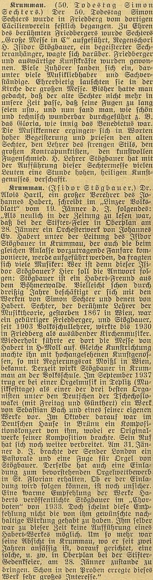 K 50. výročí jeho úmrtí vyšly včeskobudějovickém německém listě tyto dva texty, týkající se i zásluh Isidora Stögbauera ooživení památky Sechterovy i Habertovy