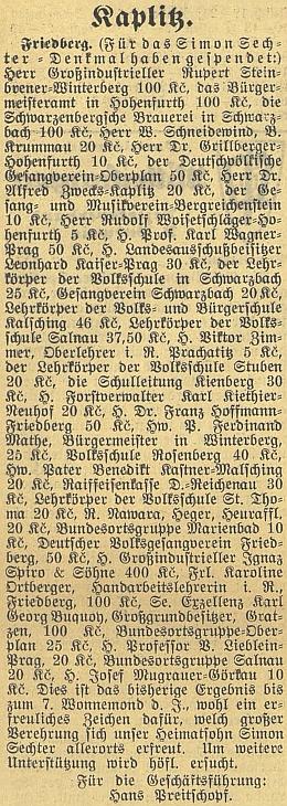 Seznam dárců na památník Simona Sechtera ve Frymburku obsahuje mnoho jmen autorů ze stránek Kohoutího kříže av budějovickém německém listě ho vkvětnu 1938 za jednatelství místního spolku pro jeho realizaci podepsal Hans Preitschopf