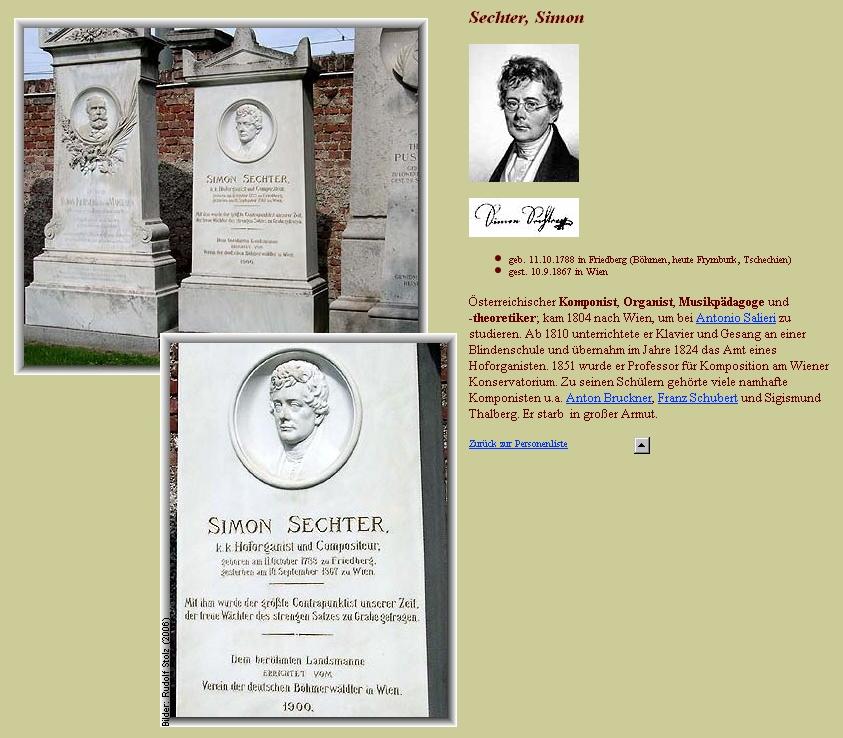 Sechterův  náhrobek na vídeňském Ústředním hřbitově zřízený péčí Spolku německých Šumavanů ve Vídni roku 1900