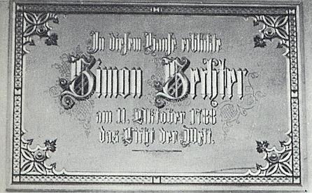 Detail pamětní desky na rodném domě