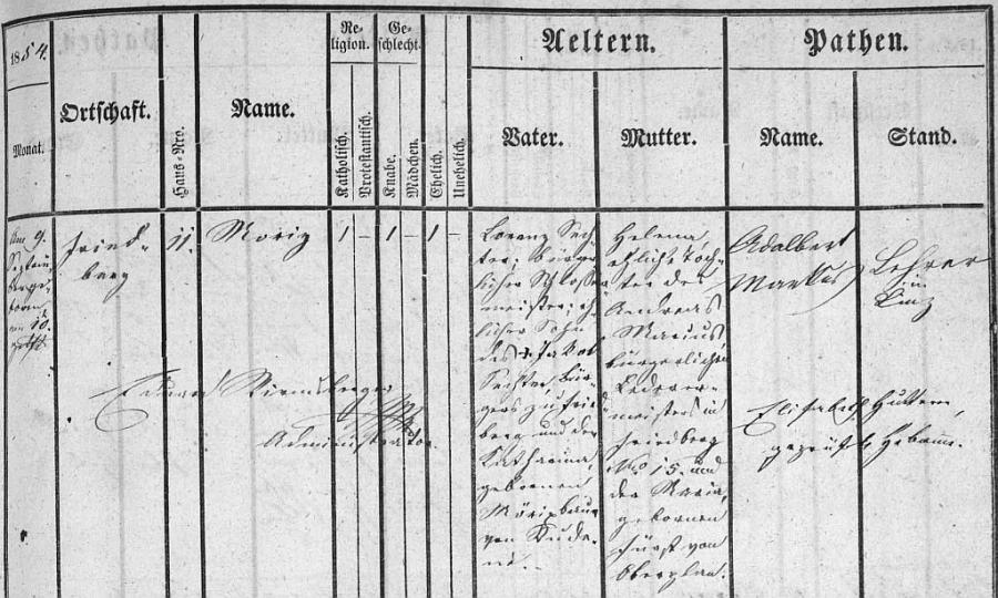 Záznam o jeho narození ve frymburské křestní matrice