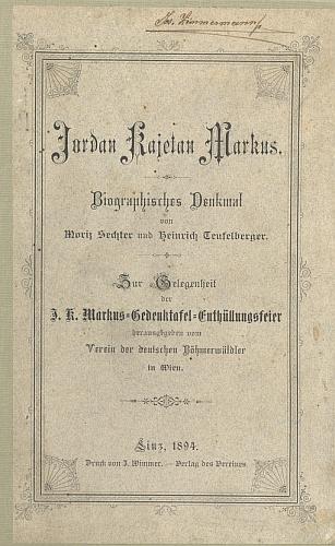 Vazba knihy o Jordanu Kajetanu Markusovi, kterou napsal spolu s Heinrichem Teufelbergerem