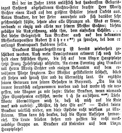 Tady ve vzpomínce na Antona Brucknera figuruje Moritz Sechter jako synovec Brucknerova učitele Simona Sechtera, rodem z Frymburka