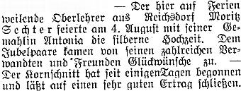 Zpráva plzeňského německého listu z Frymburka referuje o tom, že tu za letního pobytu oslavil se svou manželkou Antonií stříbrnou svatbu