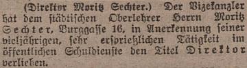 Zpráva o jeho jmenování ředitelem ve vídeňském tisku
