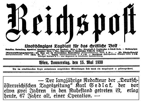 Zpráva o úmrtí ve vídeňském tisku