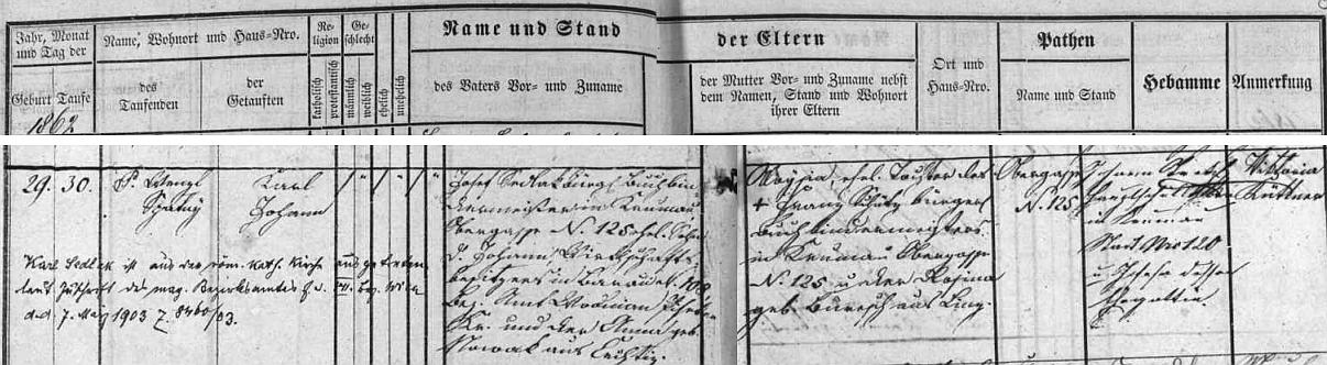 Podle záznamu českokrumlovské matriky se narodil v rodině zdejšího knihvazače Josefa Sedlaka (jeho otec Johann Sedlak byl majitelem hospodářství v Bavorově, matka Anna, roz. Nováková, byla z Čechtic) a jeho ženy Aloysie, roz. Schützové, dcery mistra knihvazačského v Českém Krumlově, Horní ulice čp. 125 (sem se Josef Sedlak přiženil a syn se mu narodil rovněž tady) a jeho manželky Rosiny, roz. Bureschové,  z rakouského Lince - nechybí ani přípis o vystoupení Karla Sedlaka z římskokatolické církve roku 1903
