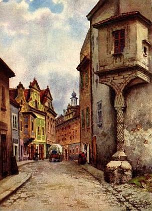 Titulní strana (1998) německé verze skládačky s věží krumlovského zámku (Krummauer Kastell), který kdekdo zná - kreslil Tomáš Rygl