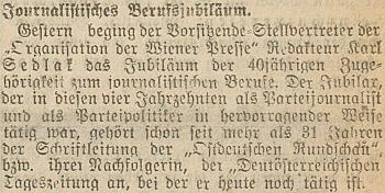 """Takto vídeňský list """"Der tag"""" připomněl 40 let jeho novinářské činnosti"""