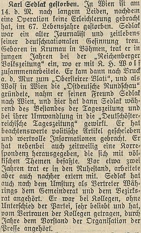 Nekrolog v jiných rakouských novinách