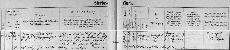 Záznam o jeho skonu v českokrumlovské úmrtní matrice