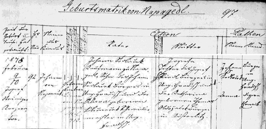 Záznam o jeho narození v napajedelské křestní matrice