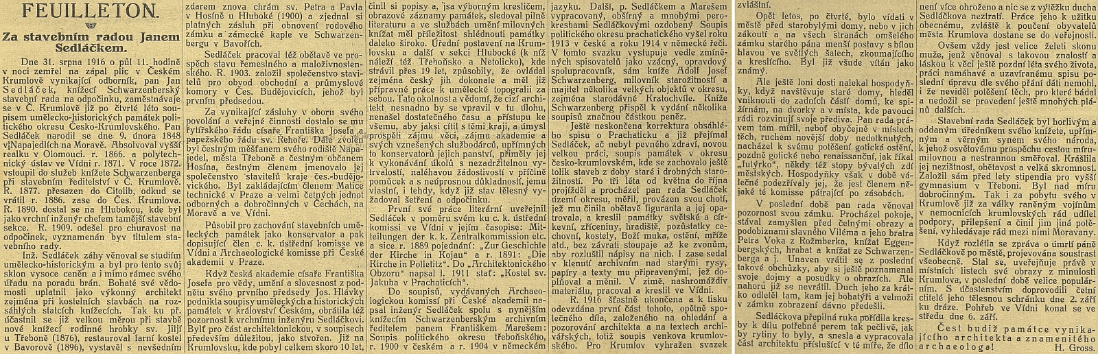 """Nekrolog, jehož autorem v """"podčárníku"""" Jihočeských listů byl archivář Hynek Gross"""