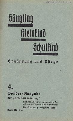 """Obálka (1936) zvláštního vydání časopisu """"Lebenserneuerung"""" s jejím textem..."""