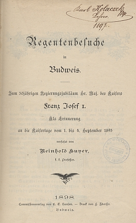 Titulní list knihy Reinholda Huyera s podpisem vlastníka - Karla Kolaczeka