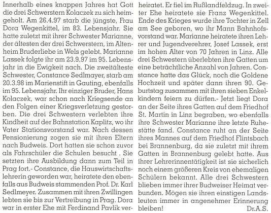 Sestry Kolaczekovy ještě pěkně pohromadě, nežli během necelého roku všechny zemřely, jak o tom zpravuje přilehlý text v krajanském měsíčníku, podepsaný zřejmě Dr. Axelem Sedlmeyerem (1935-2014), synem Constanze a Karla Adalberta Sedlmeyerových
