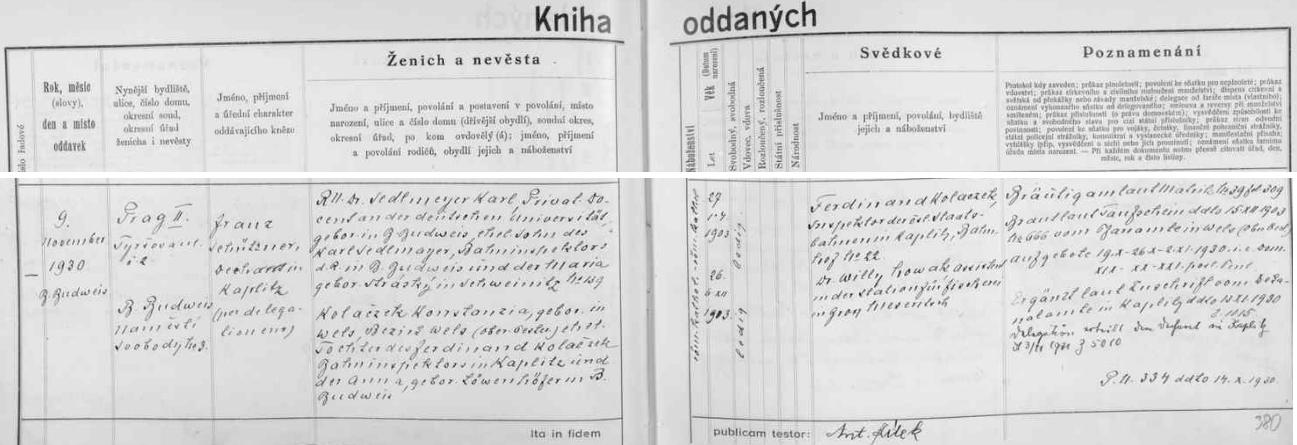 Záznam o její svatbě s RNDr. Karlem Sedlmeyerem v českobudějovické oddací matrice