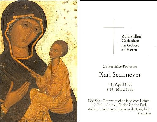 Jeho úmrtní lístek má na líci ruskou ikonu a na rubu i slova Františka Saleského: Časem Boha hledat je tento život, časem Boha najít je smrt, časem Boha vlastnit je věčnost.