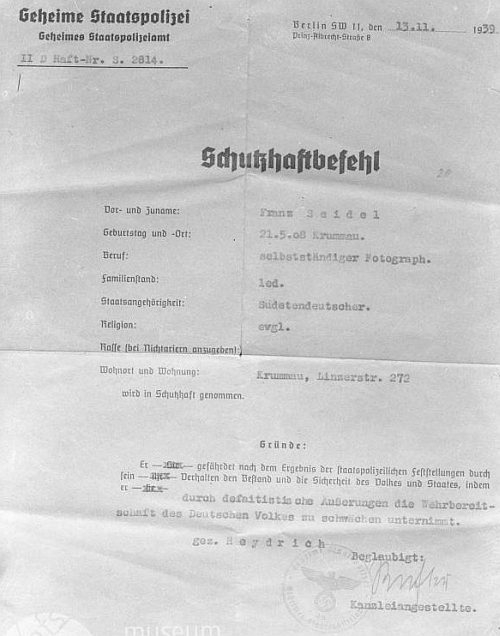 "Dokument o tzv. ""ochranné vazbě"", uvalené na něho v roce 1939"