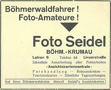 Inzerát firmy z roku 1936
