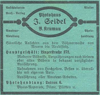 Inzerát (1932) jeho firmy v českobudějovickém časopise Waldheimat