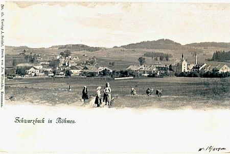 Prvá známá Seidelova pohlednice se šumavským námětem zachycuje Černou v Pošumaví
