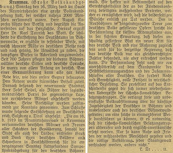 """Zpráva o velkém krumlovském lidovém shromáždění 16. března 1919 s projevy Karla Tannicha a Josefa Seidela a se závěrečným usnesením, žádajícím odvolání """"česko-slovenských okupačních jednotek"""" a jejich nahrazení """"anglo-americkými"""" (k tomu viz i Dopis prezidentovi Spojených států severoamerických také na stránkách Kohoutího kříže)"""