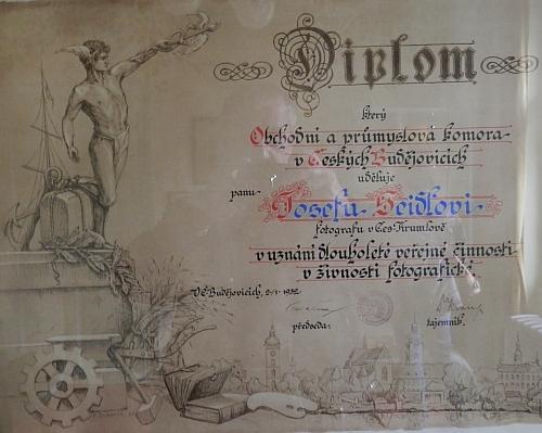 Diplom Obchodní a ptůmyslové komory v Českých Budějovicích z roku 1932