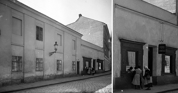 """Dnes již zaniklá budova ateliéru """"dvorního"""" fotografa Sonntaga v Jánské ulici v Kroměříži, kde začínal jakoretušér"""