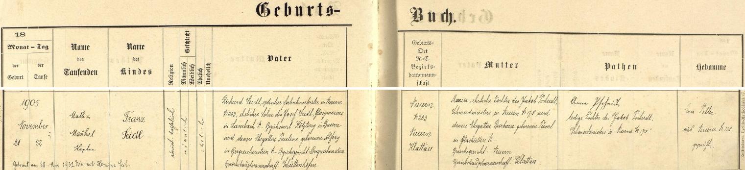 Podle tohoto záznamu nýrské křestní matriky narodil se tu 21. listopadu roku 1905 v čp. 203 a následujícího dne byl kaplanem Mathiasem Manhalem i pokřtěn jménem Franz - otec Richard Seidl pracoval ve zdejší optické fabrice a byl synem rytce skla v bavorském Lambachu, okr. Kötzting, Josefa Seidla a jeho ženy Pauline, roz. Alferyové zKašperských Hor (Bergreichenstein), novorozencova matka Maria byla pak dcerou Jakoba Pscheidta, kovářského mistra v Nýrsku čp. 178, a jeho ženy Barbary, roz. Tremlové ze Skelné Huti (Glashütten) u Nýrska - kmotrou chlapcovou se stala Anna Pscheidtová, dcera jeho děda Jakoba a tedy sestra novorozencovy matky, pozdější přípis nás ještě zpravuje o nýrské svatbě Franze Seidla dne 28. května roku 1932 s Hermine Feilovou