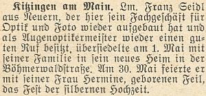 Tato zpráva krajanského měsíčníku z roku 1957 hovoří o jeho stříbrné svatbě v Kitzingen naBöhmerwaldstraße