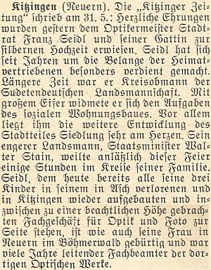 """K oslavě Seidlovy stříbrné svatby se podle této zprávy připojil i jeho """"užší krajan"""" Walter Stain"""