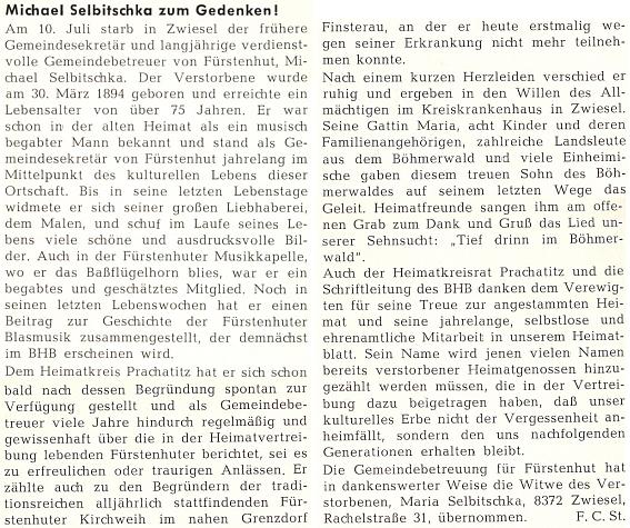 Jeho nekrolog napsal do krajanské měsíčníku Friedrich C. Stumpfi