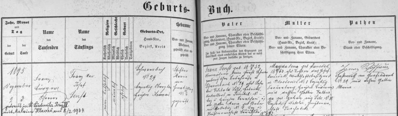 Záznam o jeho narození v křestní matrice farní obce Černá v Pošumaví s pozdějším přípisem o jeho pražské svatbě sMalvinou Hlaváčovou v únoru roku 1934