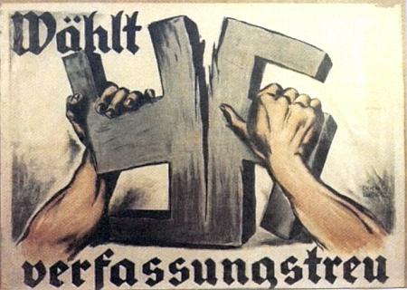 """Volební plakát s heslem """"Volte ústavověrně"""" z časů Výmarské republiky, použitý v jeho dokumentu Plakate Parolen Signale (1962)"""