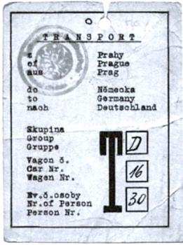 Příkaz k jeho ubytování v baráku internačního tábora v Žalově a poznávací karta jednoho z vlaků odsunu s jeho osobním číslem