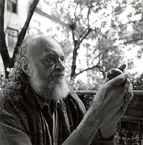 """Na přímý dotaz pana Jiřího Slámy sdělila mu fotografka Petra Flathová, že Haro Senft tu drží v ruce zlatou kouli, rekvizitu ze svého filmu """"Ein Tag mit der Wind"""" (tj. """"Větrný den""""), vyznamenaného roku 1978 několika mezinárodními cenami"""