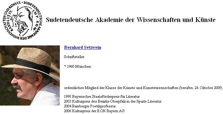 Záznam Bernharda Setzweina na soupisu členů Sudetoněmecké akademie věd a umění