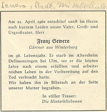 Nekrolog jeho otce, známého vimperského zahradníka, na zadní straně časopisu zaslaného na adresu synovu