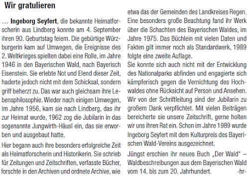 Blahopřání Haymo Richtera k jejím devadesátinám
