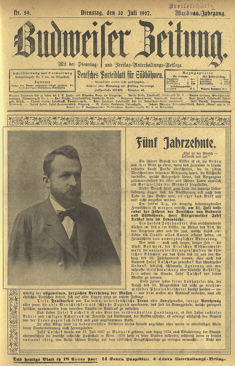 Titulní strana čísla listu, který řídil, věnovaného právě jeho textem padesátinám Josefa Tascheka