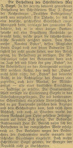 Zpráva o jeho zatčení a uvěznění na 44 hodin z podnětu českobudějovického Národního výboru v roce 1919