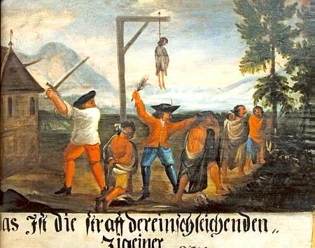 """Tři tabule z Nových Hradů varující někdy v půli 18. století slovy: """"To je trest pro Cikány, kteří se sem chtějí vloudit"""""""