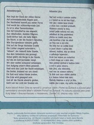 Na informační tabuli v Leopoldově je jeho další báseň z těchto stránek - Adventní jitro