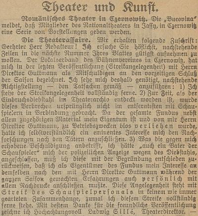 Jeho vyjádření k herecké stávce v Černovicích na stránkách místního tisku, pod nímž je podepsán jako divadelní ředitel