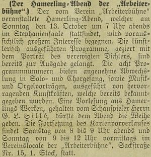 """Nejstarší námi nalezená zmínka o něm v rakouském tisku: zpráva o jeho večeru z díla Roberta Hamerlinga ve Štýrském Hradci, akci pořádané tzv. """"Dělnickou scénou"""" (""""Arbeiterbühne"""")"""