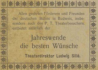 Novoroční přání divadelního ředitele z prosince 1916