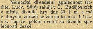 Zpráva Jihočeských listů z října roku 1915
