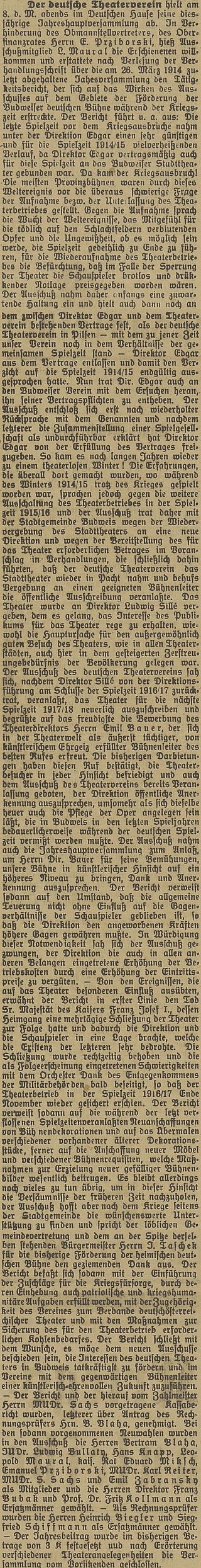 Obsáhlý text z listopadu 1917 popisuje situaci v českobudějovickém německém divadle vletech 1914-1917 včetně jeho působení