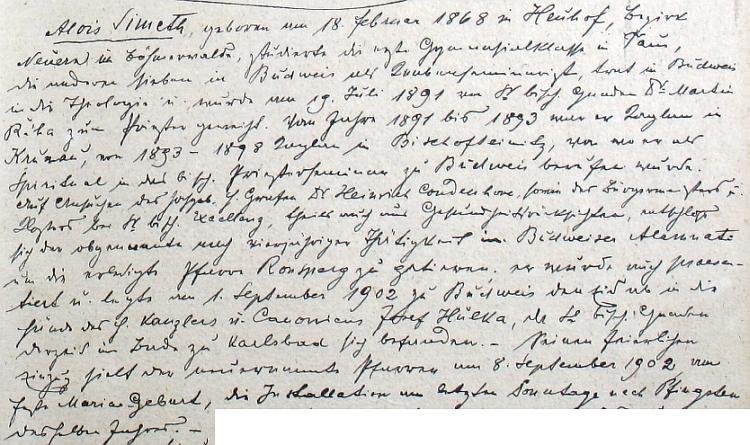Originál zápisu v poběžovické farní kronice